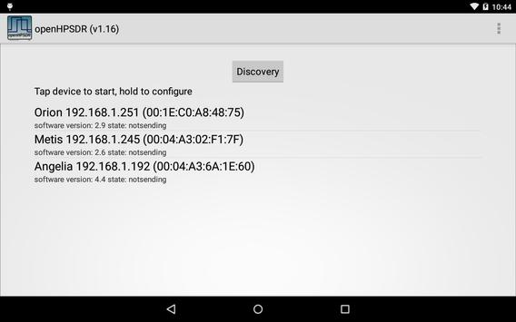 OpenHPSDR Radio apk screenshot
