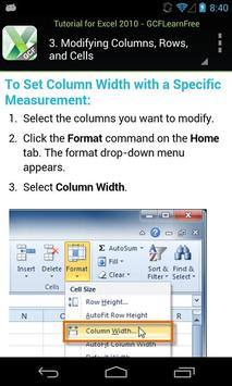 GCF Excel 2010 Tutorial apk screenshot