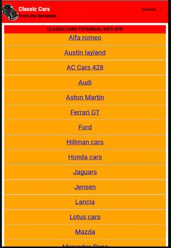 Classic Cars Technical Info apk screenshot