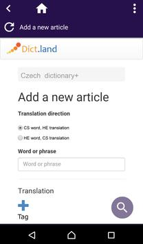 Czech Hebrew dictionary apk screenshot