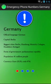 Emergency numbers. Germany poster