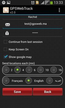 GPS Web Tracking apk screenshot