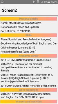 Mathieu Carrasco Leiva CV App apk screenshot