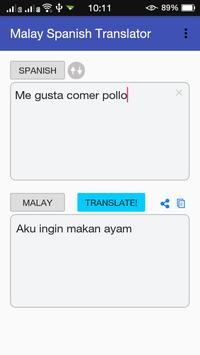 Malay Spanish Translator apk screenshot