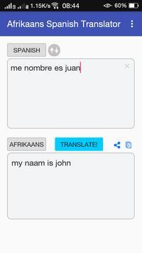 Afrikaans Spanish Translator apk screenshot