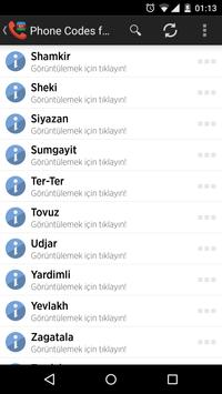 Phone Codes for Azerbaijan apk screenshot