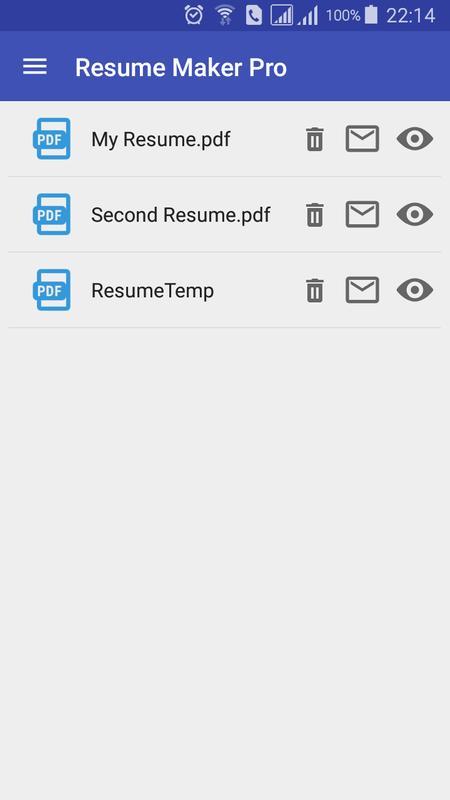 Resume Creator free printable resume maker bhat dynip se free printable resume resume maker Resume Creator Apk Screenshot