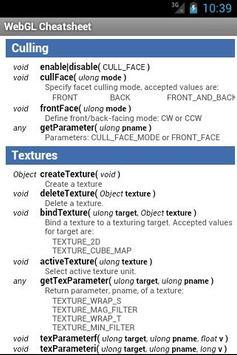 WebGL Cheatsheet apk screenshot