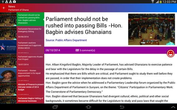Parliamentary Watch apk screenshot