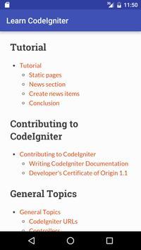 Learn CodeIgniter apk screenshot