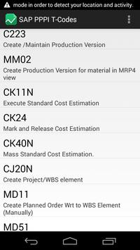 SAP Process Industry T-Codes apk screenshot