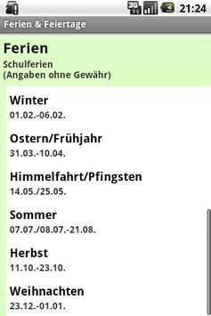 Ferien & Feiertage apk screenshot