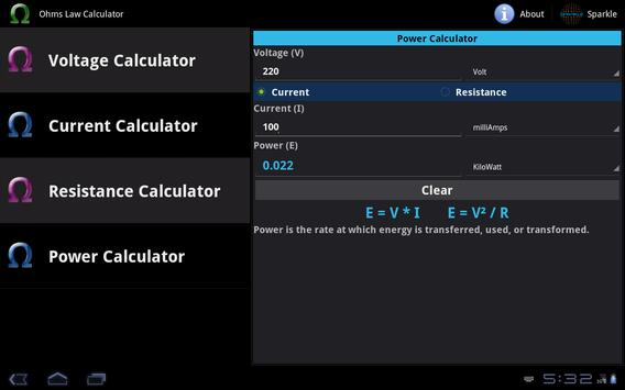 Ohms Law Calculator Tablet apk screenshot