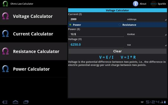 Ohms Law Calculator Tablet poster