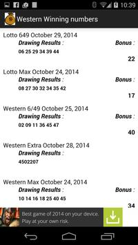 Check Western Lotto Numbers apk screenshot