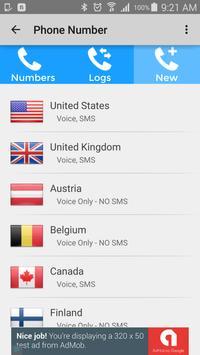 Disposable Numbers apk screenshot
