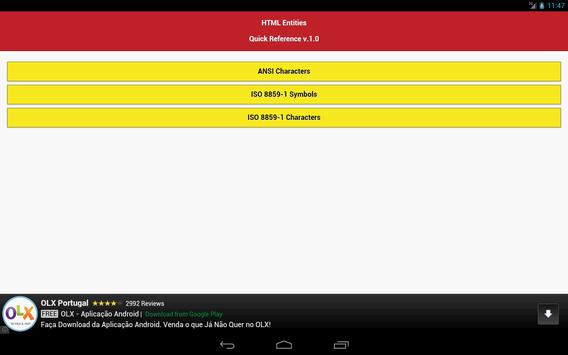 HTML Entities Quick Reference apk screenshot