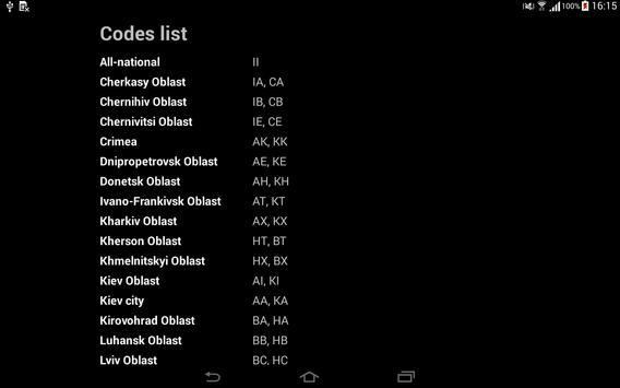 Regional Codes of Ukraine apk screenshot