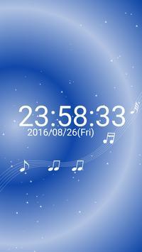 音符 デジタル卓上 時計 白い 音符 無料版 poster