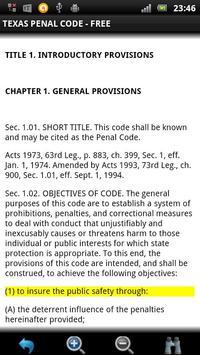 Texas Penal Code FREE apk screenshot