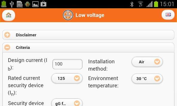TKF cable calculator apk screenshot