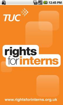 TUC Rights for Interns app poster