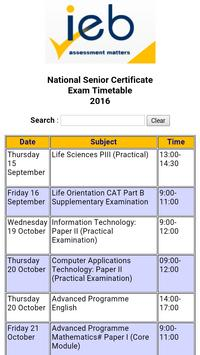 NSC Exam Timetable 2016 (IEB) poster