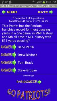 Schedule Trivia Game for New England Patriots Fans apk screenshot
