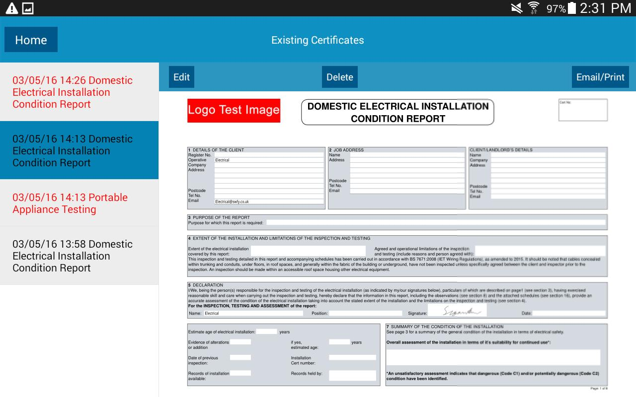 Download free electrical certificate software free
