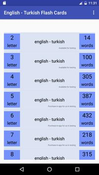 Eng Turkish Flash Cards poster
