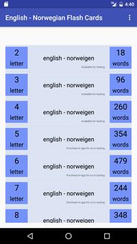 Eng Norwegian Flash Cards poster