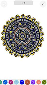 Mandala Color by Number Draw Book Page Pixel Art poster