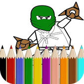 Coloring  book for Super Wrrior Ninja Go fans icon