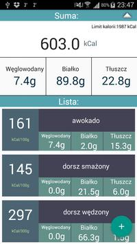 Tabela i licznik kalorii poster