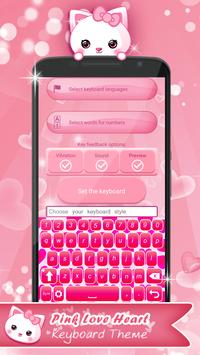 Pink Love Heart Keyboard Theme apk screenshot
