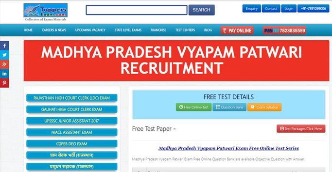 MP Vyapam Patwari Free Online Mock Test Series poster
