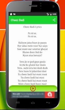 Cheez Badi Lyrics screenshot 1