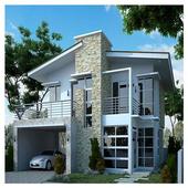 minimalist two-storey house icon