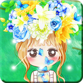 Nice Chibi Girls With Flowers Screen Lock icon