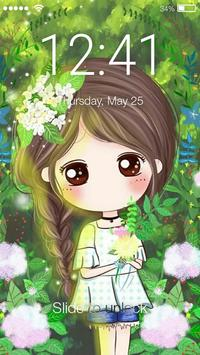Nice Chibi Girls With Flowers Screen Lock poster