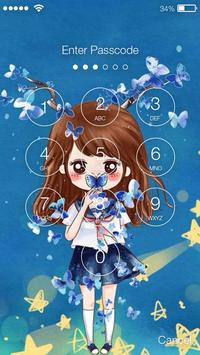 Nice Chibi Girls With Flowers Screen Lock screenshot 1