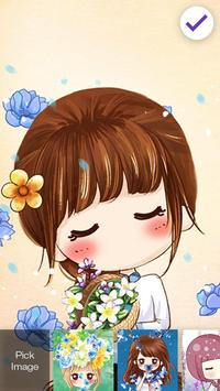 Nice Chibi Girls With Flowers Screen Lock screenshot 2