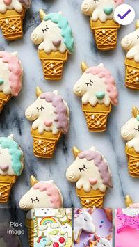 Purple Unicorn Cute Cookies Screen Lock apk screenshot