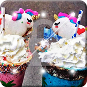 Rainbow Unicorn Drink With Marshmallow Screen Lock icon