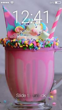 Rainbow Unicorn Drink With Marshmallow Screen Lock poster