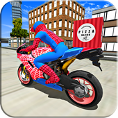 Super Hero Stunt Bike - Spider Hero Pizza Delivery icon