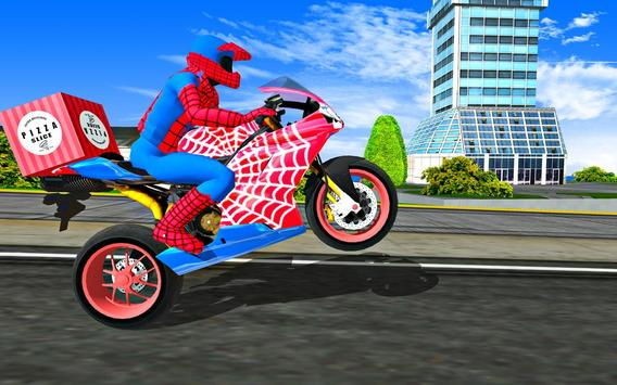 Super Hero Stunt Bike - Spider Hero Pizza Delivery screenshot 10