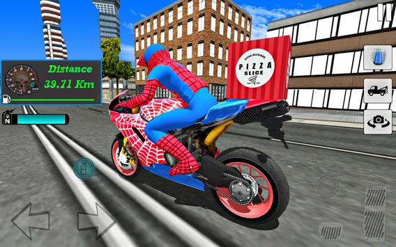 Super Hero Stunt Bike - Spider Hero Pizza Delivery screenshot 1