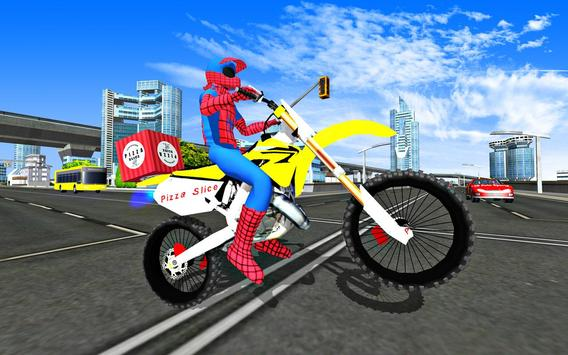 Super Hero Stunt Bike - Spider Hero Pizza Delivery screenshot 22