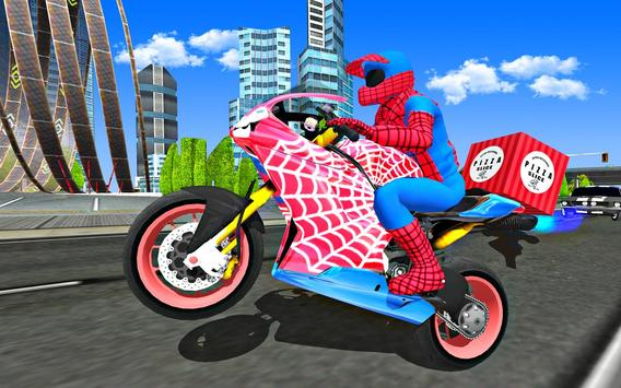 Super Hero Stunt Bike - Spider Hero Pizza Delivery screenshot 23